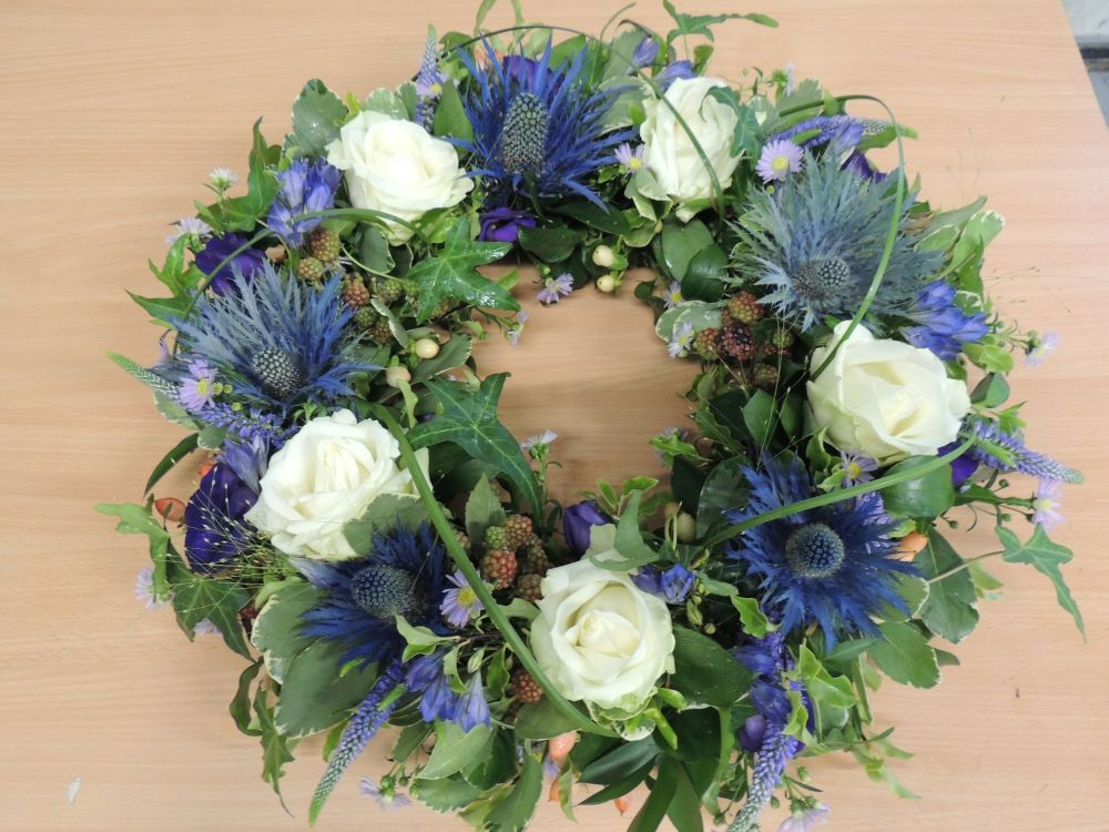Thistle and rose wreath